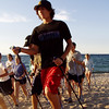 High School Cross Country Runners hit the beach for some cross training - Nordic Ski Walking