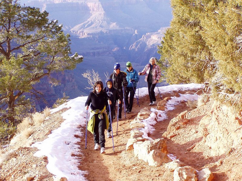 SWIX VIP Nordic Walking Poles dominate the Grand Canyon - quality one-piece poles won't collapse unexpectedly like cheap twist-locking poles can