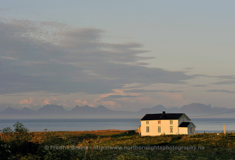 House with view towards Senja, Norway