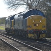 37688 + 37423 0Z25 Willesden Brent - Norwich passes Hargham Rd LC near Eccles Rd 25/3/17