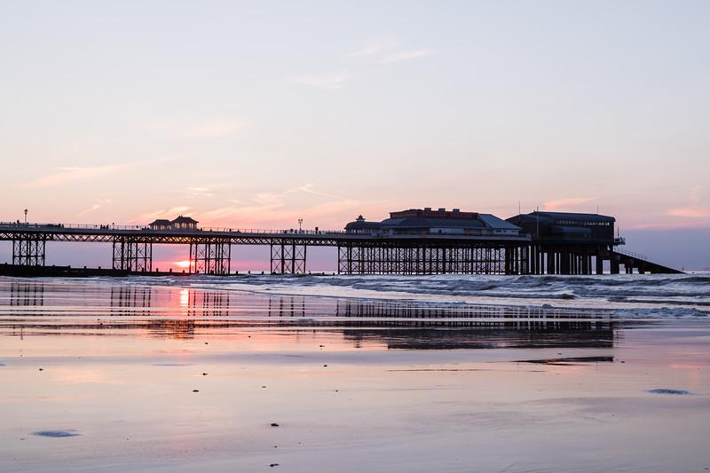 Sunset behind Cromer pier