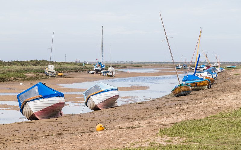 Boats beached at Blakeney
