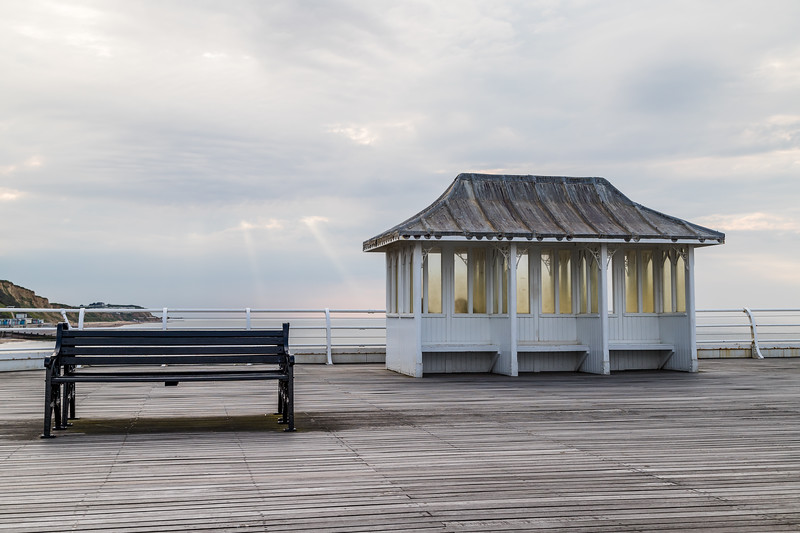 Bench and shelter on Cromer Pier