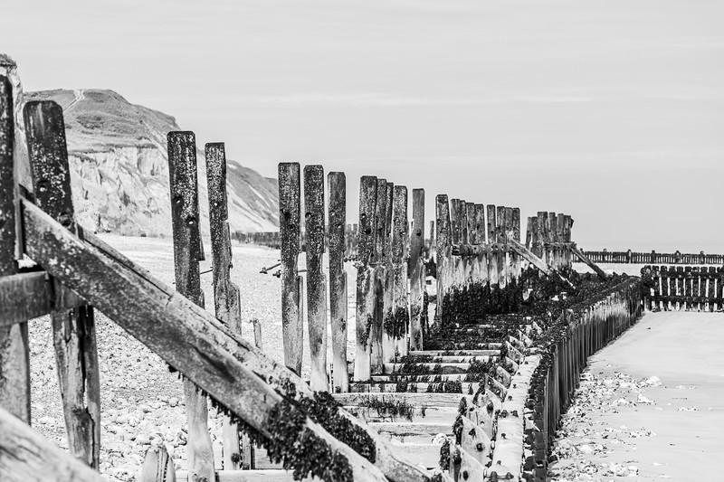 West Runton revetment in black and white