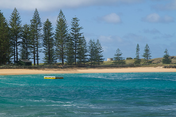 Emily Bay with the ruins of the windmill, Norfolk Island