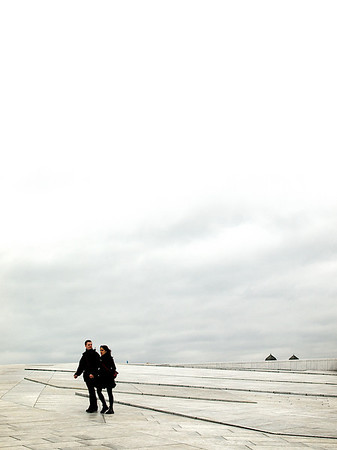 Departing the scene. Roof of the Oslo Opera House. ********** Scenen forlates. Oslo Operahus. (Foto: Geir)