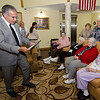 Mayor Dean Mazzarella joins a celebration at Manor on the Hill on Tuesday afternoon to honor Norma Schofield, who turned 104 on September 12th. SENTINEL & ENTERPRISE / Ashley Green