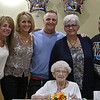 Norma Schofield had her 106 birthday on Tuesday, September 12, 2018 at Manor On the Hill in Leominster where she now lives. five of her 12 grandchildren where on had to help her celebrate her birthday. From left is Amy Williams, Linda Williams, Brian Schofield, Sharon Bouchard and Mark Schofield. SENTINEL & ENTERPRISE/JOHN LOVE
