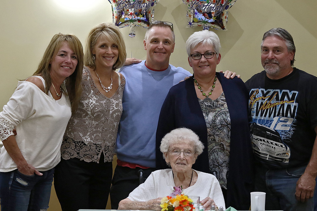 . Norma Schofield had her 106 birthday on Tuesday, September 12, 2018 at Manor On the Hill in Leominster where she now lives. five of her 12 grandchildren where on had to help her celebrate her birthday. From left is Amy Williams, Linda Williams, Brian Schofield, Sharon Bouchard and Mark Schofield. SENTINEL & ENTERPRISE/JOHN LOVE