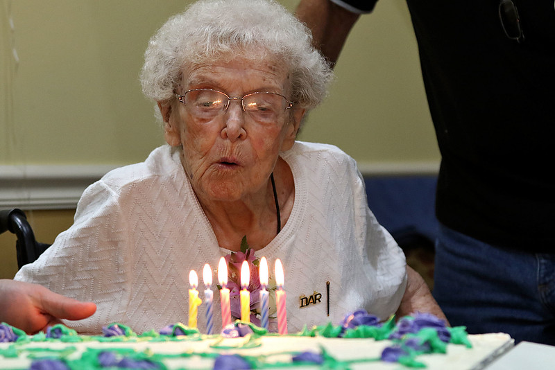 Norma Schofield had her 106 birthday on Tuesday, September 12, 2018 at Manor On the Hill in Leominster where she now lives. Norma blows out her birthday candles all by herself during the party. SENTINEL & ENTERPRISE/JOHN LOVE