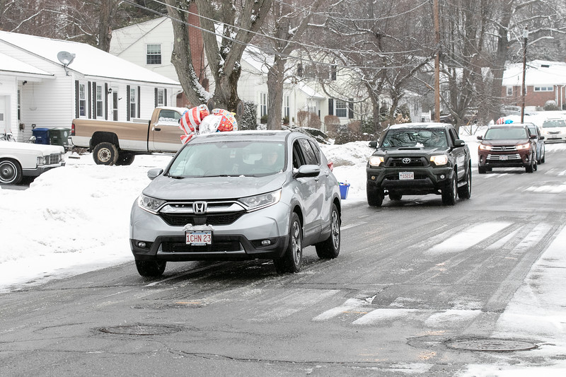 WWII veteran Petty Officer 2nd Class Norman (Cookie) Melanson turned 95 and on Saturday morning a parade of cars passed by his home in Leominster to wish him a happy birthday. Leading the parade of friends and family was some city fire and police cars. SENTINEL & ENTERPRISE/JOHN LOVE