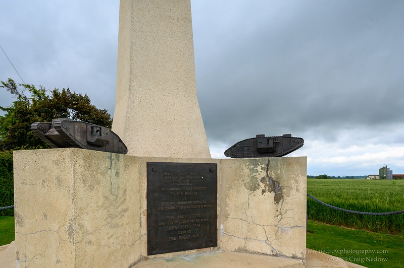 Commonwealth Tank Corps Memorial of WWI,  Pozières, the Somme, France.