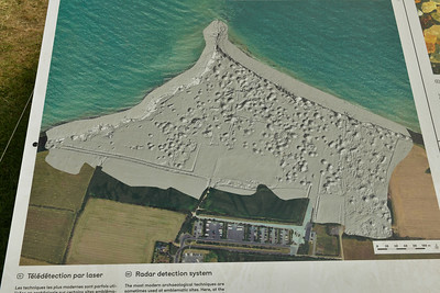 Bomb craters at Pointe du Hoc seen by some type of radar