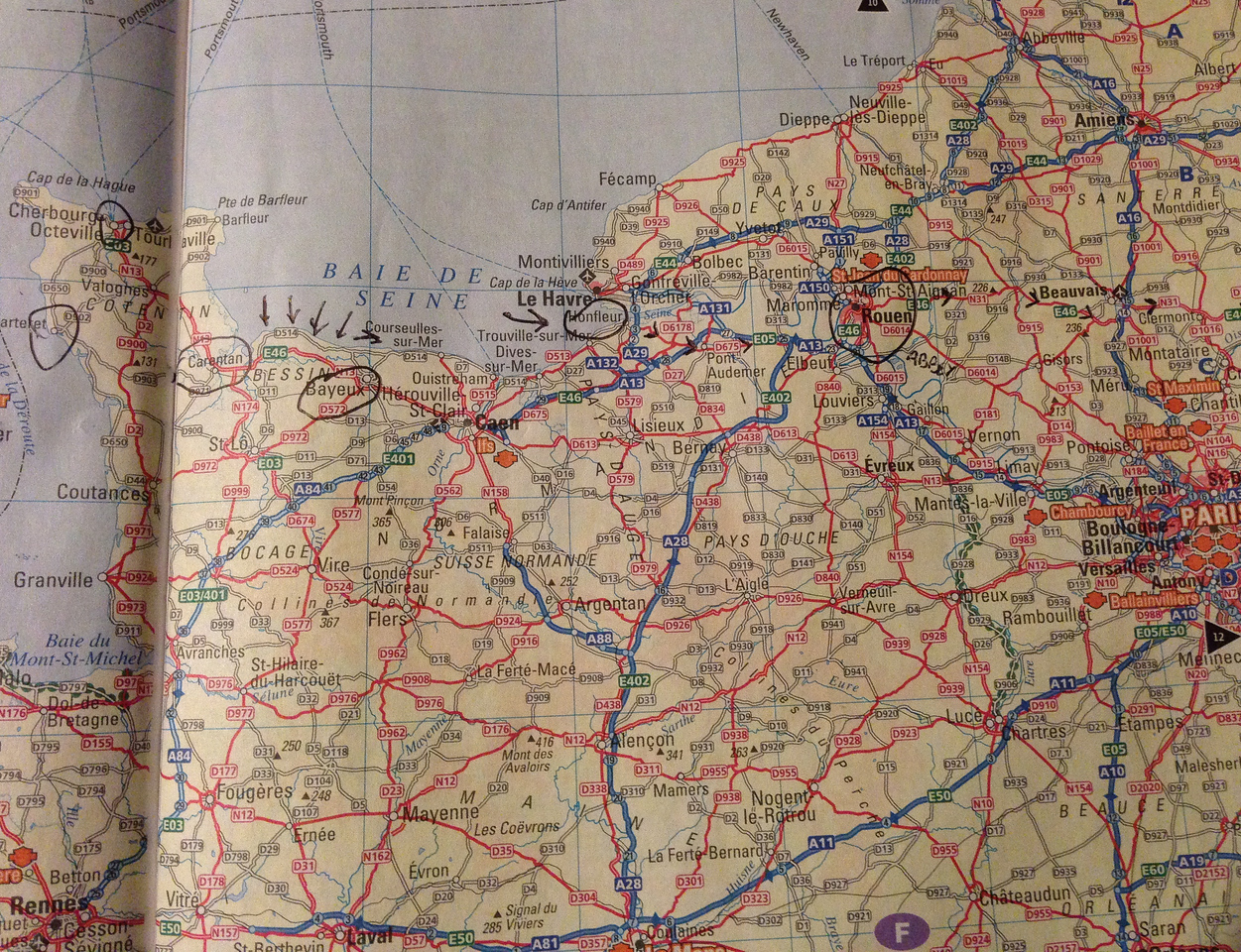 I went through Paris, and on to Cherbourg (upper left-hand corner).