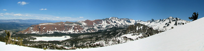 View from Red Cones<br /> Glass Mountain and the White mountains are on the left skyline. Mammoth Crest forms the right skyline. Lake Mary and Crystal Craig are in the middle distance, left and right.<br /> <br /> Use size 'O' to view full size panorama.