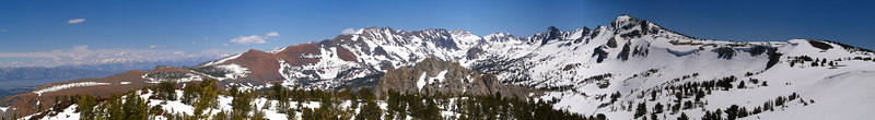 View from Red Cones<br /> On the skyline from the left: Glass Mountain, the White Mountains and the Mammoth Crest. Crystal Craig is in the middle foreground.<br /> <br /> Use size 'O' to view full size panorama.