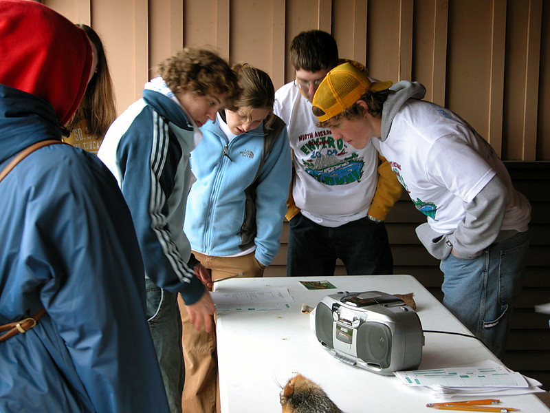 Participants at the Wildlife Test station