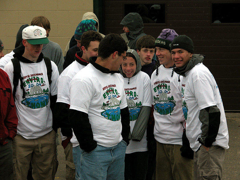 Gathering before the competition for hot cocoa and donuts - Note Envirothon teeshirts: free to all participants