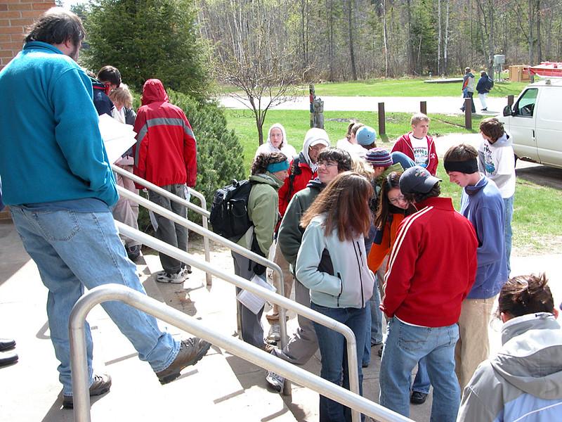 Participants at the Aquatics Test station
