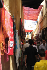 All the streets of the medina in Fez are narrow. Goods are transported by donkey.
