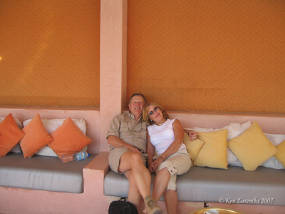 In the Moroccan lounge area of the pool site at the Berber Palace hotel