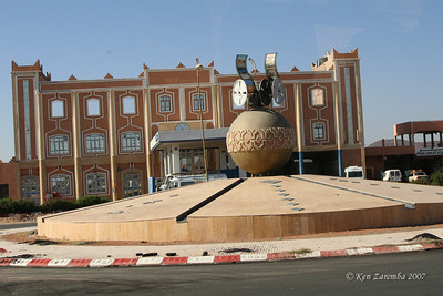 The town square of Quarzazate, the momument to the movie industry in Quarzazate and Morocco