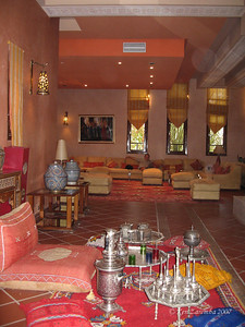 Lobby of the Berber Palace with the Moroccan tea set for guests to use.  Ken lounging in the background