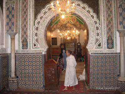 Inside an ancient Mausoleum, inside the Medina.  Designs always include wood and plaster carvings, tile mosaics and marble