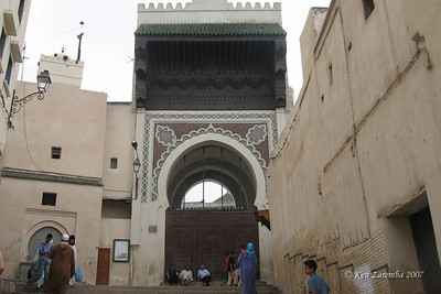 9th century mosque in Fez medina with remodeled face