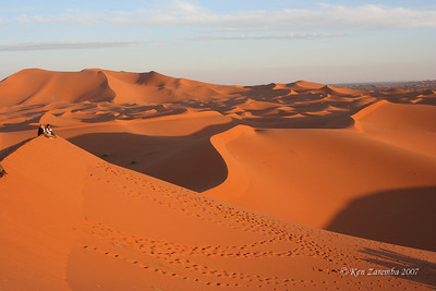 At sunrise, again on the dune's crest. Sand dunes of Merzouga. Also called Chebbi Erg locally.