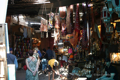 Marrakesh Medina interior. Very narrow walkways that go every which way. It is easy to get disoriented in a Moroccan medina.