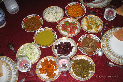 A Moroccan meal begins with several cooked, usually cold, salads