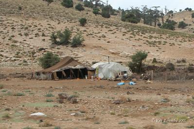 A Berber nomad family encampment in sub Sahara