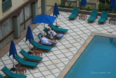 Chilling out at the pool of the  Palais Jamai Fes Hotel before leaving the next day to travel east.