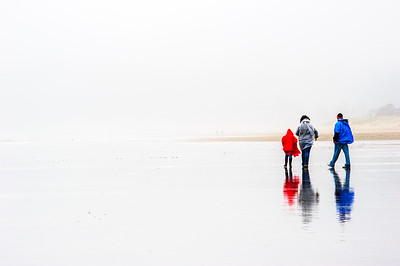 Rainy walk along beach