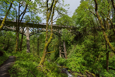 Old bridge at Latourell Falls is a waterfall along the Columbia River Gorge in Oregon, within Guy W. Talbot State Park. The Historic Columbia River Highway passes nearby, and at certain locations the Lower falls are visible from the road.