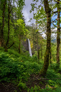 Latourell Falls is a waterfall along the Columbia River Gorge in Oregon, within Guy W. Talbot State Park. The Historic Columbia River Highway passes nearby, and at certain locations the Lower falls are visible from the road.