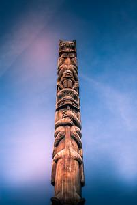 'Totem poles at Ksan Historical Village and Museum in Hazelton. photo