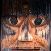 Totem pole details Ksan Historical Village Hazelton British Columbia photo