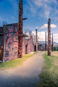 Totem and long house in Ksan