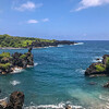 The Waianapanapa Black Sand Beach was my favorite stop along the Road to Hana. A short, yet steep, path led us to the beach which started with large coal colored rock, followed by shiny black sand with descending sizes of pebbles. Beautiful!