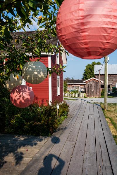 Paper lanterns along walkway in Steveston