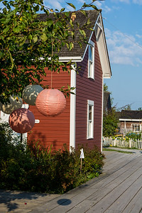 Paper lanterns along walkway in Steveston