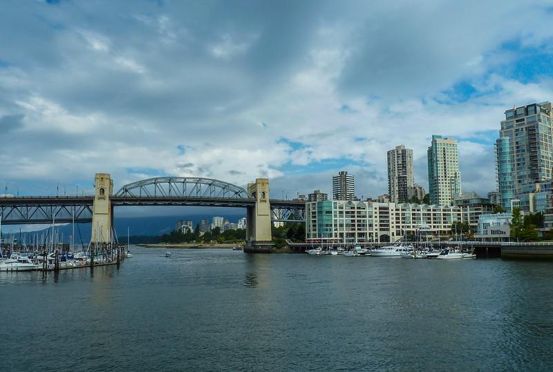 Burrard bridge in Vancouver view from Granville Island