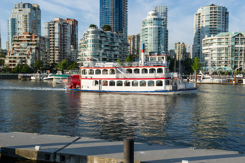 Old paddle wheeler boat cruising the false creek harbour in Vancouver B.C. on July 17 2012 Photo Frank Pali