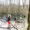 A little girl explores the marshy wetlands of a west coast forest