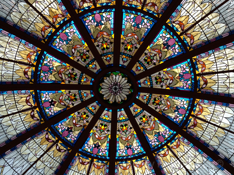 Spectacular stained glass dome at the Fairmont Empress Hotel in Victoria