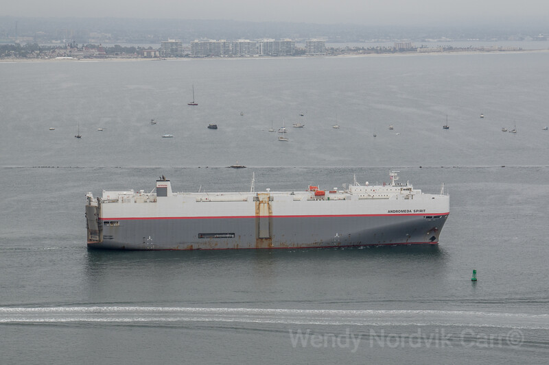 The cargo ship Andomeda Spirit leaves the San Diego harbor