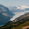 Parker Ridge Hike<br /> Glimpse of the Saskatchewan Glacier from the first overlook... I wish a wind would just sweep down and blow all this smoke haze away.