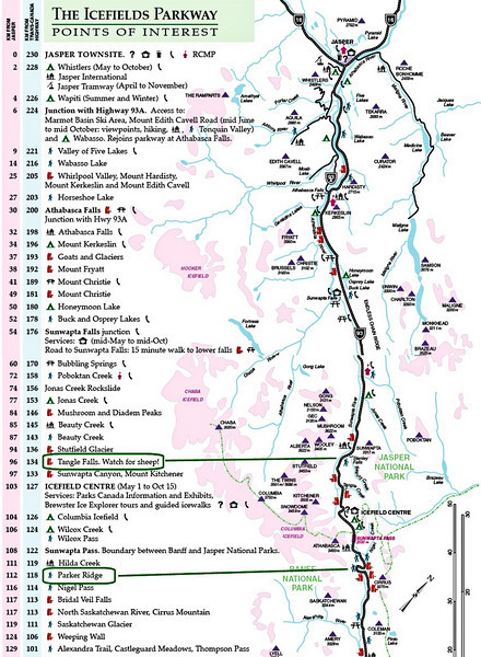 This partial map of the Icefields Parkway sets the stage for today's activities.<br /> (map courtesy of the Parks Canada website)